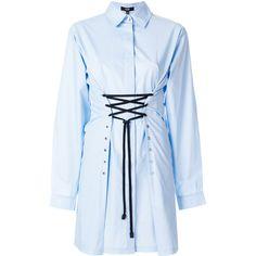 Versus waist-tied shirt dress (26.630 RUB) ❤ liked on Polyvore featuring dresses, blue, versus dress, blue shirt dress, tie waist dress, blue color dress and shirt dress
