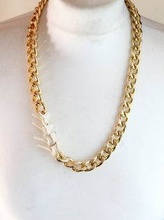 Real bone jewelry rabbit taxidermy vertebrae gold plated curb chain funky retro vintage abstract necklace