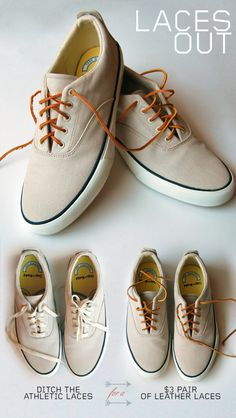 Put leather laces in your sneakers. It's the best $3 you'll spend this summer. : malefashionadvice
