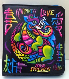 Lisa Frank Binder Trapper Keeper Dragon Asian Happiness Love Bestfriends Vintage | eBay