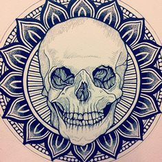 Love the idea, not the actual drawing. Would like a more artsy scull and more details on the mandala in the background.