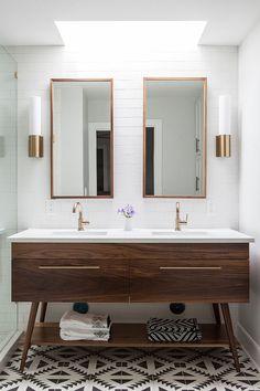 Custom wooden vanity for the midcentury modern bathroom design Bathroom Renos, Bathroom Layout, Modern Bathroom Design, Bathroom Interior Design, Decor Interior Design, Small Bathroom, Interior Decorating, Bathroom Cabinets, Bathroom Ideas