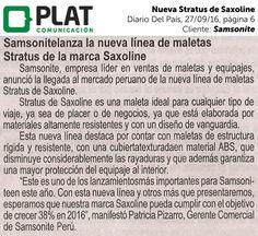 Samsonite: Nueva maleta Stratus de Saxoline en el diario Del País de Perú (27/09/16)