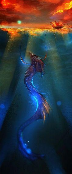 Fantasy World, Fantasy Art, Digital Art Fantasy, Dark Fantasy, Digital Art Illustration, Fantasy Illustration, Water Dragon, Sea Dragon, Dragon King