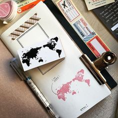 I am madly in love with my new world map rubber stamp from @cutethingsfromjapan…