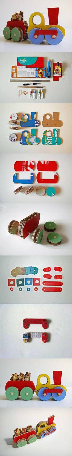Cardboard Choo-Choo Train | iCreativeIdeas.com