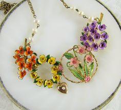 My Impression- Statement Necklace-Antique Austrian Enamel Necklace- Reworked Vintage Salvage- Garden Floral- Multi-color-  One of a Kind. $108.00, via Etsy.