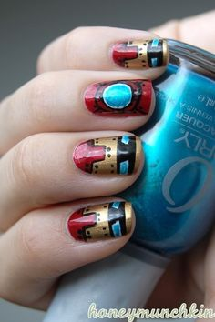 Iron Man-inspired nails.
