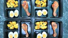 Keto meal prep boxes with chicken, hard boiled egg and cauliflower