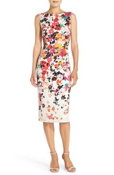 Free shipping and returns on Maggy London Floral Jersey Sheath Dress at Nordstrom.com. Bright blooms pop across this smooth, stretchy jersey dress formed with clean modern lines and a chic midi-length hem.