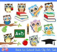 Back to School Owls Clipart Set by 1EverythingNice on Etsy