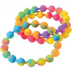 24 Glow in the Dark Plastic Pearl Bead Necklaces Kid Party Goody Loot Bag Favor