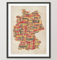 Typography Text Map of Germany Map Art Print 18x24 by artPause, £14.99