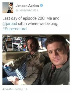 #JensenAckles #Twitter last day of episode 200