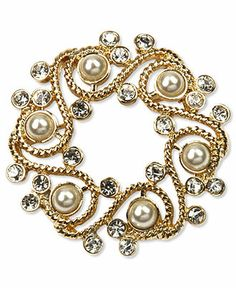 Jones New York Brooch, Gold Tone Plastic Pearl and Glass Stone Wreath Pin Box - Fashion Jewelry - Jewelry & Watches - Macy's