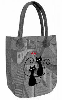 Filcová kabelka City Mačky na streche Reusable Tote Bags, Design, City, Fragrance, Dime Bags, Design Comics
