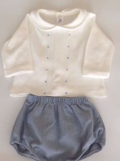 Spanish/Romany Baby Boy's 2 Piece Short Set in White & Blue - 3 Months in Baby, Clothes, Shoes & Accessories, Boys' Clothing (0-24 Months) | eBay