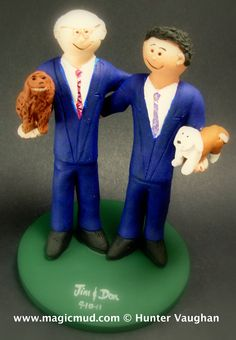 Gay men with pet dogs wedding cake topper...     $235 #gay#same_sex#two_men##wedding #cake #toppers  #custom #personalized #Groom #bride #anniversary #birthday#wedding_cake_toppers#cake_toppers#figurine#gift#rainbow
