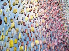 Tea Bag Installations  Hollywood Rolling Greens Hangs 3000 Pieces