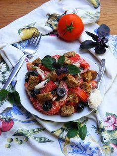 Makacska konyhája: Panzanella, vagyis Olasz paradicsomos kenyérsaláta... Ciabatta, Brie, Bruschetta, Vegetable Pizza, Bacon, Vegetables, Ethnic Recipes, Food, Essen