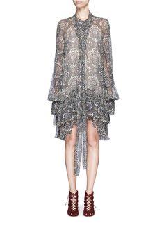Oriental print tiered silk crépon dress