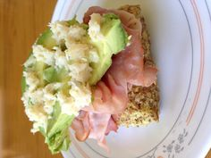 Ham, avocado, and horseradish sandwich on paleo microwave bread #primal #paleo