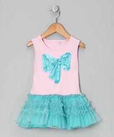 Pink & Aqua Bow Tutu Dress -luv me lots