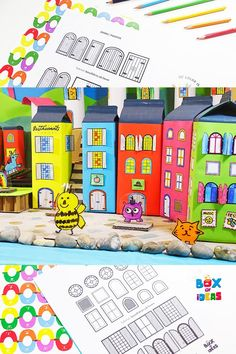 Doors and Windows Coloring Printable For DIY Recycled Town, Cardboard City or Paper Dollhouse