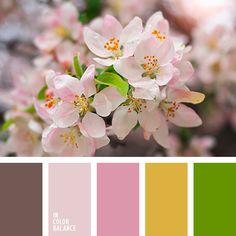"""""""пыльный"""" розовый, горчично-желтый, горчично-желтый цвет, коричневый, нежные оттенки цветов вишни, оттенки нежно розового, палитра для весны, розово-коричневый, салатово-зеленый цвет, светло-розовый, теплый желтый, теплый зеленый,"""