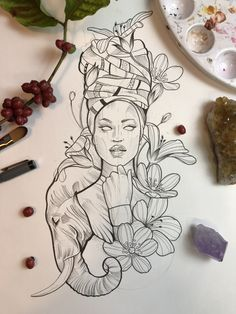 The drawings and illustrations are part of the fertile ground of the tattoo. It is almost impossible to find a tattoo artist who has not yet begun to draw in childhood and has built with the design . Cute Tattoos, Body Art Tattoos, Spine Tattoos, Flower Tattoos, African Queen Tattoo, African Sleeve Tattoo, Egyptian Tattoo Sleeve, Afrika Tattoos, Afro Tattoo