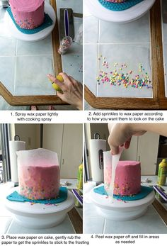 How to put sprinkles on the sides of a cake - Cakes // - Cake-Kuchen-Gateau Cakes To Make, How To Make Cake, Fancy Cakes, Cake Decorating Techniques, Cake Decorating Tips, Cookie Decorating, Cake Decorating For Beginners, Cake Decorating Amazing, Food Cakes