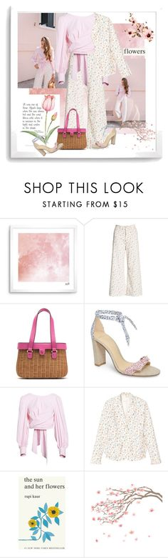 """""""Floral pants"""" by gagenna ❤ liked on Polyvore featuring Rebecca Taylor, Frances Valentine, Alexandre Birman, Wayf, Simon & Schuster, floralprint, nordstrom and rebeccataylor"""