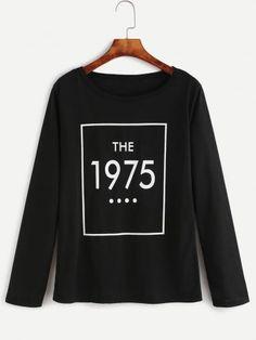 Black Numbers Print T-shirt