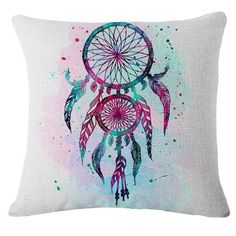 These are beautiful abstract printed Bohemian style pillowcases.  Pillow covers are printed and made of cotton and linen.  Pillowcase pattern is only on one side.  For closure they have hidden zipper for easy insertion or removal of cushion.  Pillow covers are comfortable, durable and washable.  Pillowcase size is 45*45cm.  #bohemian #boho #bohemianstyle #bohopillowcase #pillowcase #abstract #dreamcatcher
