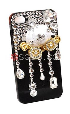 Stylish Pumpkin Cart Rhinestones IPhone 4 Cell Phone Case