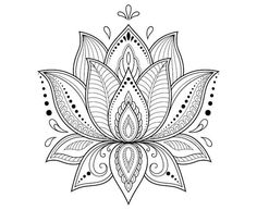 Mehndi lotus flower pattern for Henna drawing and tattoo. Decoration in ethnic oriental, Indian style. Mehndi lotus flower pattern for Henna drawing and tattoo. Decoration in ethnic oriental, Indian style. Lotus Mandala Design, Mandala Art, Lotus Flower Mandala, Mandalas Drawing, Mandala Tattoo Design, Mandala Coloring Pages, Lotus Mandala Tattoo, Lotus Henna, Lotus Design