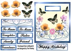 ladies card blue on Craftsuprint - View Now! Birthday Cards, Happy Birthday, Blank Labels, Embellishments, Decoupage, Decorative Boxes, Card Making, Greeting Cards, Colours