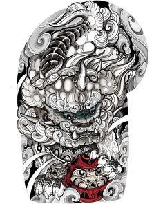 Bio Organic Tattoo, Chinese Design, Foo Dog, Star Tattoos, Japan Fashion, News Design, Blackwork, Tattoo Designs, Men Casual