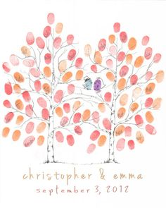 Hand Drawn Wedding Guestbook Fingerprint Tree, Guest Book Alternative, Hand Drawn Thumbprint Wedding Tree- Any Size - Includes Ink