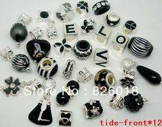 50pcs mixed Black big hole European charm beads for Bracelet / Necklace