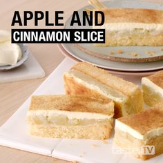 Use a clever shortcut to create these baked golden slices filled with warm apple, sour cream and cinnamon. Apple Recipes, Baking Recipes, Sweet Recipes, Cake Recipes, Dessert Recipes, Dessert Simple, Apple Sour Cream Slice, Cooking Cookies, Köstliche Desserts
