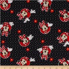 Disney Minnie Traditional Minnie & Flowers Dots Red