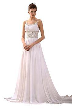 Sisjuly Womens Beaded Spaghetti Straps Scoop Beach Wedding Dress 16 White * Click image for more details.