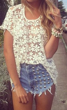 #studded#lace#shorts#bracelets#love