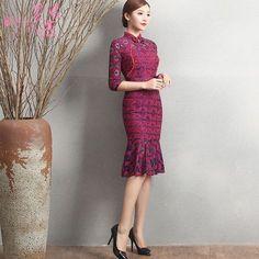 Sweet Knee Length Fishtail Cheongsam Qipao Chinese Dress - Qipao Cheongsam & Dresses - Women