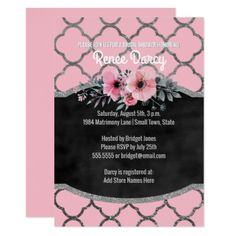 Bridal Shower Quatrefoil Pattern Elegant Pink Card - pattern sample design template diy cyo customize