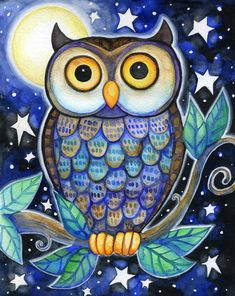 Night Owl 8x10 Colorful Owl Moon Star Print by BlueLucyStudios