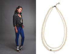 Venessa Arizaga pearl & skull necklace