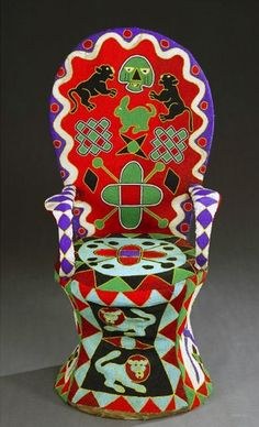 Africa | Royal throne from Cameroon | Wood, covered with textile embroidered with glass beads