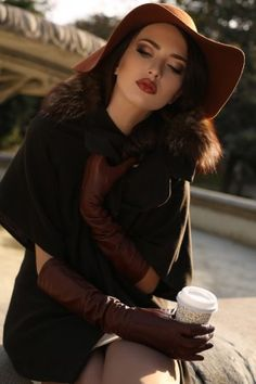 Beautiful girl in elegant coat and hat drinking coffee at park Gloves Fashion, Hand Photo, Outdoor Photos, Leather Gloves, Hats For Women, Women Wear, Beautiful Women, Glamour, Portrait